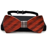 Wholesale Unique handcrafted wooden bow ties Custom LOGO Customize Design Europe and America Style styles handmade Wenge Rosewood Black walnut