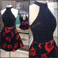 beaded rose pattern - 2016 Floral Print Homecoming Dresses with Open Back and Beaded High Neck Real Picture Beading Black Satin Rose Cocktail Party Gowns