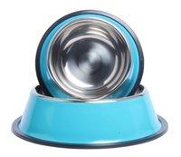 ceramic dog bowl - REAMIC Solid stainless steel pet food bowl single food Basin Pet supplies pet anti skid base blue and orange