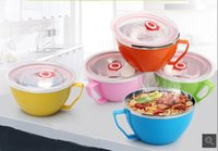 Cheap Stainless steel instant noodles bowl with a lid handle double - faced noodles bowl Ramen Bowl soup heat preservation box