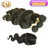 Wholesale 7A Brazilian Body Wave With Closure Bundles Weaves Human Hair Weft With Closure Unprocessed Brazilian Hair With Closure Bella Hair