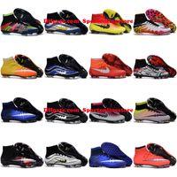 achat en gros de indoor soccer shoes-Hommes Chaussures de football Hypervenom Phantom II Chaussures 2 Magista Obra Mercurial Superfly FG IC TF CR7 AG Indoor Football Crampons Haute cheville Football