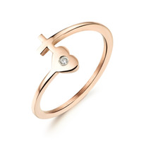 Wholesale New products listed Stainless Steel cross heart rose gold Rings women s jewelry
