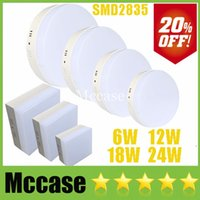 El 20% del 6W 12W 18W 24W redondo / cuadrado LED Luces del panel de la fuente de alimentación 110-240 V adosables Fixture empotrada en el techo abajo se enciende