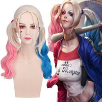 Wholesale Trendy Batman Suicide Squad Harley Quinn Pink Blue Gradient Anime Cosplay Curly Wig Ponytail Length quot