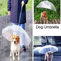 Wholesale Useful Transparent PE Pet Umbrella Small Dog Umbrella Rain Gear with Dog Leads Keeps Pet Dry Comfortable in Rain
