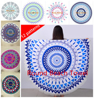 Wholesale superfine fiber cm round beach towel with tassels High quality Knitted beach towels for adults New patterns round towel