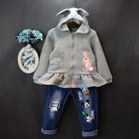 Wholesale 2016 New Girls Embroidered hoodie coat baby rabbit cartoon hoodies children outwear coat girl cute hooded jumpers