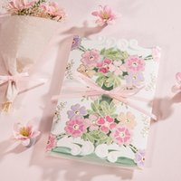 Wholesale New Arrival Wedding Invitation Free Personlized Print With Flowers and Pink Bow Wedding Cards WISHMADE CW6025