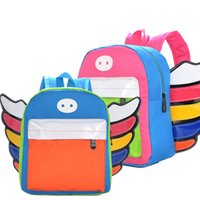 Style japonais et coréen Cute College Wind Spell Color Enfants sac à provisions Sacs pour enfants Angel Wing Oxford Kid School Backpacks