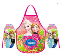 Wholesale Kids Childrens Cartoon Cooking Art Painting Smock Apron Set Sleeveless Aprons Over sleeves