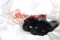 Wholesale rihanna fenty slippers fenty slides rihanna fenty leadcat fur slides grey pink white black slide indoor sandals send with BOX and DUST BAGS