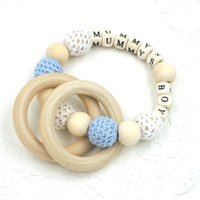 Wholesale Baby Crochet Wooden Beads Ring Nursing Toy Mommy s Boy Jewelry Baby Teether safe to chew TT006