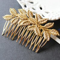 Wholesale ew Arrival Designer Gold Leaf Bridal Hair Combs Plastic Quality Accessories For Women Girls Wedding Bijoux Hair Jewelry