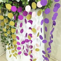 Wholesale Hot Glitter Paper Garland Round Circle Bunting Wedding Decoration Brithday Decor Nursery Bridal Shower garland banners