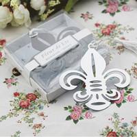Wholesale DHL wedding favors gifts stainless steel fleur de lis Bookmark Baby Shower souvenir flower de luce bookmark