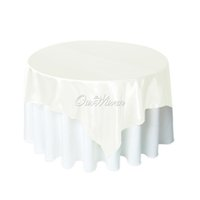 banquet overlay - 10pcs cm Square Satin Table Cloth Pure color Table Cover overlay for Wedding Party Banquet Hotel Home Supply