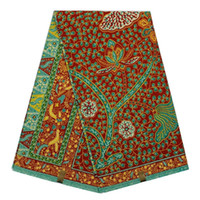 batik fabric painting - Beautiful flower green colour pattern African painting super wax fabric hollandais real batik wax for party dress cotton yards pc