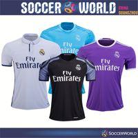 Wholesale Top thai quality real madrid soccer jerseys real madrid shirts home away third RONALDO BENZEMA JAMES BALE RAMOS football shirts