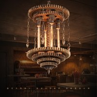art network - Retro gear loft style wrought iron pendant light bars Creative Industries Network Cafe American studio personality pendant lamp