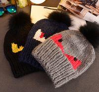 big black beast - 10pcs A1119 devil beast high quality thick thread woven big pompon winter warm hat skullies beanies cap