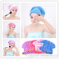 Wholesale Microfiber Magic Hair Dry Drying Turban Wrap Towel Hat Cap Quick Dry Towel Quick Dry Shower cap