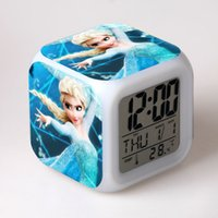 Wholesale Frozen Night Colorful Alarm Clock with New LED Kinds Colors Changing Digital Alarm Clock Anna and Elsa Thermometer