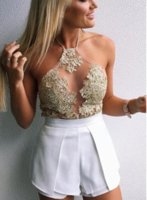 Wholesale Elegant white lace crop top Summer beach backless short halter tops Sexy camis gauze metallic women tank top