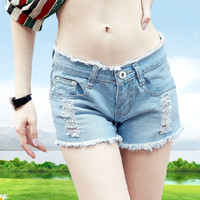 beauty denim shorts - Women s hole denim shorts new female loose shorts girl mid waist plus size summer jeans shorts slim beauty