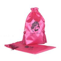 Wholesale Pink Virgin Hair Packaging Bag with Drawstring Hair Extension Bundles Satin Bag with Tassel