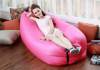 Wholesale Inflatable Outdoor Air Sleep Sofa Couch Portable Furniture Sleeping Hangout Lounger Imitate Nylon External Internal PVC for Summer Camping B