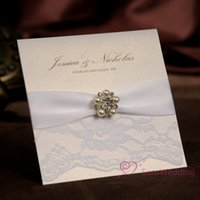 Wholesale White Lace Wedding invitations With Rhinestone Buckle Free Customized Printing Wedding Cards with RSVP and photo