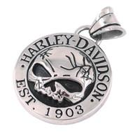 Wholesale Silver Biker Necklace - Free shipping! Cool Silver Skull Biker Pendant Stainless Steel Jewelry Classic Motor Biker Skull Men Pendant SJP0059