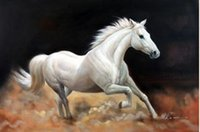 animal trails - White Horse Dusty Trail Trotting Portrait Pure Hand painted Animal Art Oil Painting Canvas any customized size accepted John