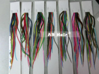 Wholesale Hot sale quot bright color mix real grizzly thin rooster feather hair extensions beautiful feathers
