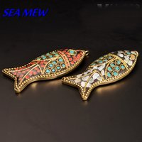 Wholesale 5 mm Vintage Turquoise Copper Handmade Nepal Goldfish Pendant Charm Leaves The Bodhi DIY Accessories bz