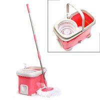 Wholesale Deluxe Bucket Heads Magic Mop Micro Fiber Spinning Rotating Head PINK