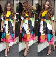 Belles robes à manches courtes France-2016 Les plus vendus Robe Tête Impression Portrait Jupe Longuette Robes manches courtes pour Femmes Vêtements Femmes