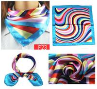 Wholesale Small silk scarf stewardess professional etiquette colored scarf printed Cravat Handkerchief hotel Cravat