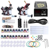 Cheap Complete Tattoo Kit Needles 2 Machine Gun Power Supply 20 Color Ink Tip Needle Equipment Beginner Tattoo Kits 1YZ