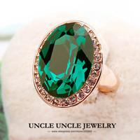 band egg - Ultra big Brand Design K Rose Gold Plated Big Egg Austrian Crystal Green Emerald Luxury Lady Finger Ring