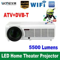 Wholesale 2016 lumens Android HD LED Wifi Smart Projector D Home Theater LCD Video Proyector Digital TV Beamer DVB T