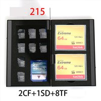Wholesale Aluminum Memory Card Storage Case Box Holders Sliver for Micro Sim Card Nano Sim Card SD TF CF PSV Cards Protector Holder Free DHL
