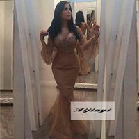 arabic sexy lady - New Off the shoulder Long Mermaid Evening Gowns Backless Lace Poet Sleeves Lady Beads Formal Evening Dresses Saudi Arabic Hot Party Prom