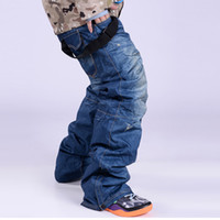 Wholesale SkisTrousers snowboard pants Denim Suspenders Ski Jeans Waterproof Breathable Warm Skiing and Snowboarding Pants Clearance Sale