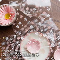 Wholesale 100pcs cm Transparent Cherry Blossoms Self adhesive OPP DIY Gift Packaging Bags Candy and Cookie Packing bag BZ003 lt no tracki