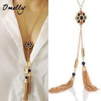 Wholesale Long Tassel Pendant Fashion Beaded Stone Necklace Charms For Women Kendra Scott Necklaces Friend Gift For Party Gold Chains