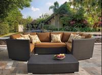 Wholesale living room chair table hotel cafe sofa set pieces PE rattan wicker sofa set wicker furniture Garden patio furniture outdoor furniture