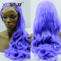 Wholesale Purple Color Lace Front loose Wave Wigs Natural Baby Hair Synthetic Lace Front Wig Black Hair Glueless Wig Heat Resistant for Black Women