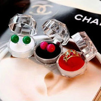 Wholesale Small adorn article transparent crystal ring box ring box jewelry box jewelry box gift box earring receive a case
